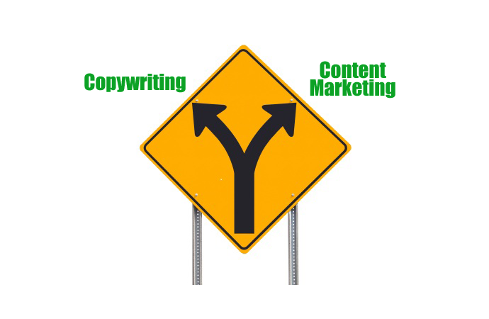 A sign with two arrows, one pointing towards copywriting and the other pointing to content marketing