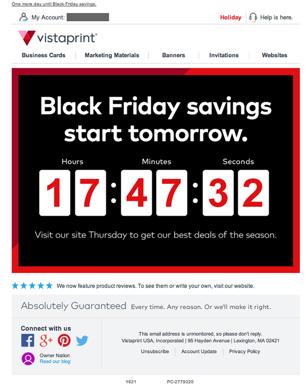 Vistaprint's Black Friday countdown the creates a sense of urgency