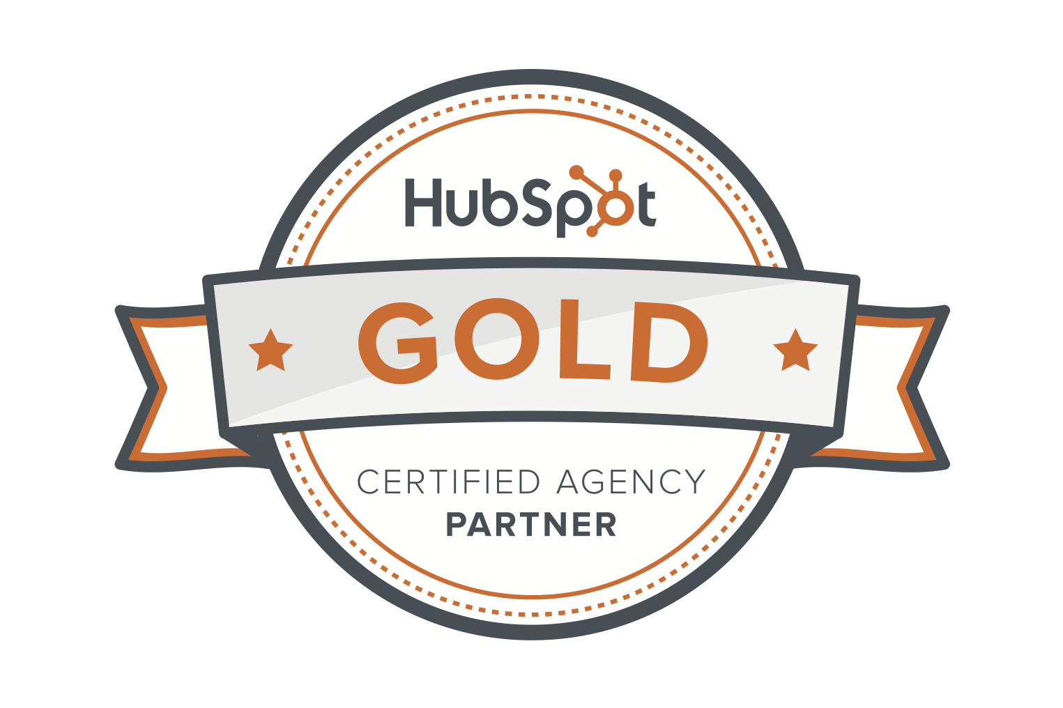 HubSpot's certificate for becoming a Gold certified agency partner