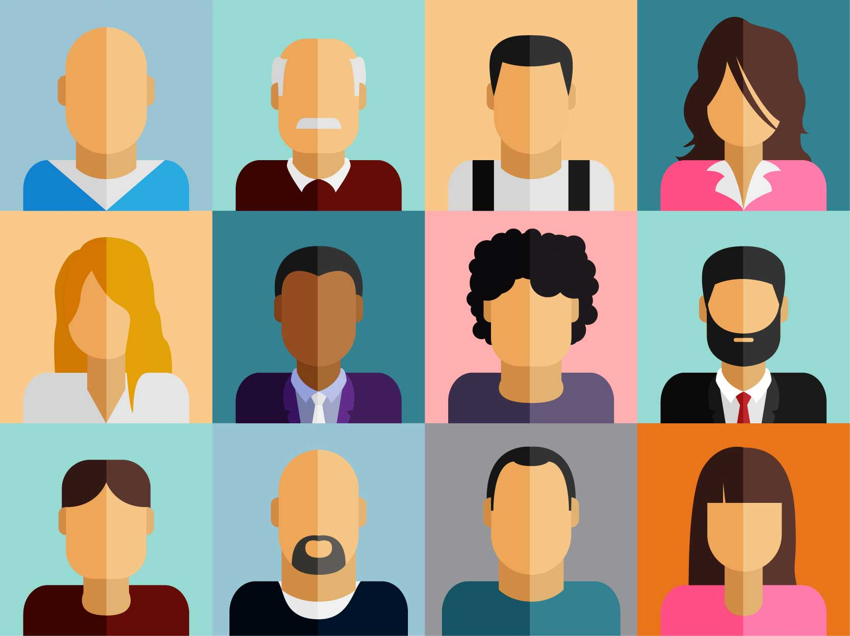 Business people cartoon collage representing different buyer personas